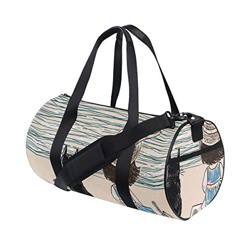 ZOMOY Sporttasche,Kleines Mädchen mit dem Panama Hut, der auf Bank Fluffy Cat by Seaside sitzt,Neue Bedruckte Eimer Sporttasche Fitness Taschen Reisetasche Gepäck Leinwand Handtasche