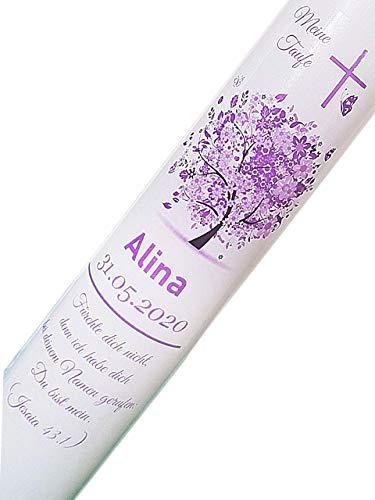 Taufkerze Kommunionkerze für Mädchen Lila mit Lebensbaum 30x6cm beschriftet mit Namen Datum und Taufspruch verschiedene Größen verfügbar