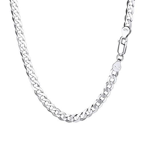 PROSILVER Herren 925 Silber Panzerkette 5mm breit Schlichte kubanische Gliederkette 66cm/26 Lange Halskette Minimalist Schmuck Accessoire für Männer Jungen