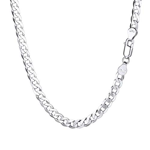 PROSTEEL 5mm Silver Chain Man Necklace 24inch Mens 925 Sterling Silver Chain