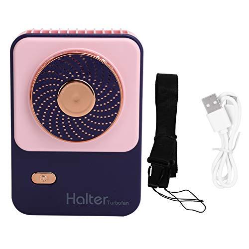 Les-Theresa Mini Ventilador eléctrico Ajustable de 3 velocidades, Ventilador portátil de Mano para Colgar en el Cuello, Carga USB para Exteriores o Ventilador con Pilas(Rosa)