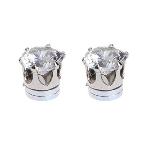 Joocyee Pendientes Magnéticos Sin Piercing Orejas Circón para Hombres Mujeres, Pendientes Magnéticos De Circón De Cuatro Garras, Blanco
