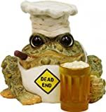 Homestyles Toad Hollow #94134 Figurine Dead End Grillin Toad with Mug of Beer in a Chef Hat and Cooks Apron Grill Character Garden Statue Large Toad Figure Natural Brown