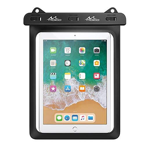 MoKo Funda Impermeable de Tablet, IPX8 Bolsa Protectora Estanca Universal para iPad Air 4/3/2, iPad Pro 11 2020, iPad 8/7/6, Galaxy Tab S7/S6/S4/S3/Tab A7 2020/Tab E, Fire HD 10 hasta 12', Negro