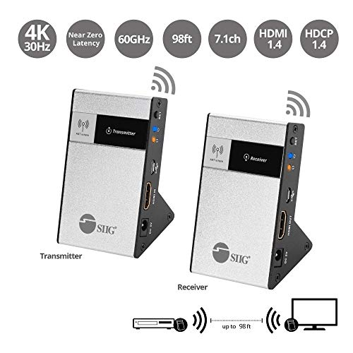 SIIG CE-H23Q11-S1 Wireless HDMI Extender Kit 98Ft 30M Supporting 4K @30Hz HDCP 1.4 CEC 60GHz Frequency-Transmitter and Receiver, Black