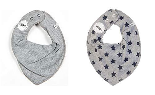 Fifi Lot de 2 bavoirs pour bébés triangle bandana, unis, gris avec étoiles