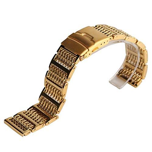 DFKai1run Correa de acero inoxidable, Enfriar el lujo de oro del reloj de la banda de malla Relojes Correa 20cm 22cm 24cm de acero inoxidable Bandas de reemplazo de la correa for el reloj Hora Deporte