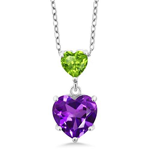 Gem Stone King 2.10 Ct Heart Shape Purple Amethyst Green Peridot 925 Sterling Silver Pendant
