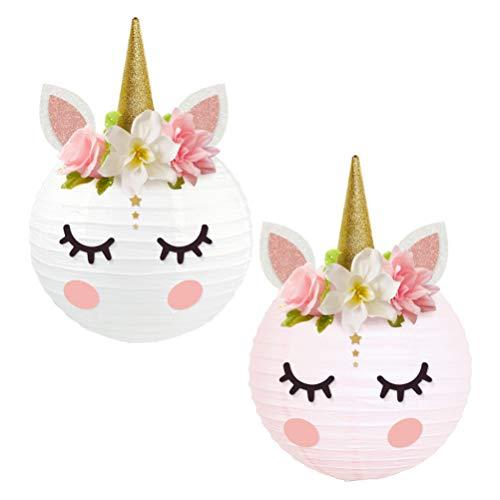 NUOBESTY 2Pcs Linternas de Decoración de Fiesta de Unicornio DIY Linternas de Papel de Unicornio Centros de Mesa de Unicornio con Brillo Cuerno Orejas Pestañas para Baby Shower Cumpleaños