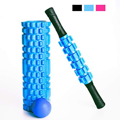 Faszienrolle Set 3-teilig, blau – Yoga Retreat • Faszienrolle, Massage-Roller-Stab & Massageball, inkl. Tragetasche • professionelles Fitness Zubehör für zuhause • Massagegeräte für Faszientraining