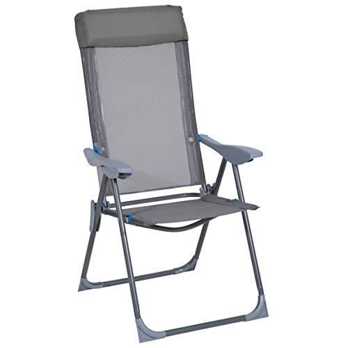 greemotion Klappstuhl Lido, Hochlehner Sessel mit Kopfpolster, klappbarer Campingstuhl mit 5-fach verstellbarer Rückenlehne, grau / blau