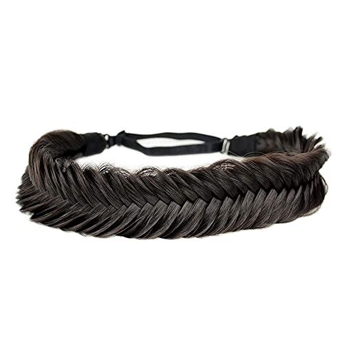 BOBIYA breites Fischschwanz-Kunsthaar-Zöpfe Stirnband klassisches geflochtenes Stirnband elastisches Stretch-Toupet Beauty-Accessoire (Dunkelbraun)