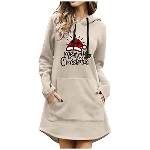 BIKETAFUWY Vestido de reno para mujer, suter Ugly, manga larga, sudadera con capucha con impresin navidea, con capucha, top, vestido de otoo, tnica, asimtrico, suter festivo, beige, S