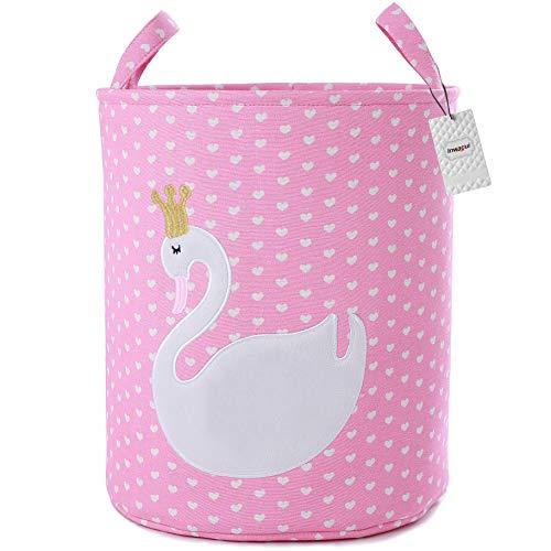 Inwagui Mädchen Wäschekorb Groß Faltbare Aufbewahrungskorb Stoff Schwan Wäschesammler für Spielzeug, Kleidung, Kinderzimmer - Liebesherzen