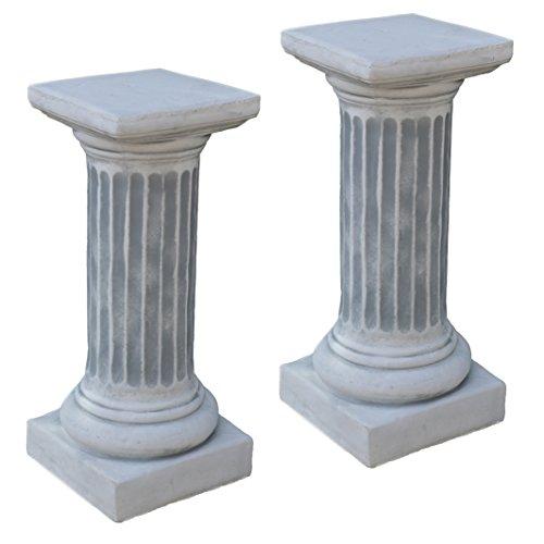 gartendekoparadies.de Sonderangebot: Stück 2 Massive Stein Säulen rund groß Podest Sockel aus Steinguss frostfest