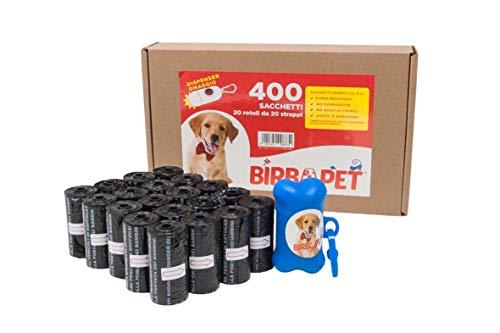 BirbaPet - 400 Sacchetti / 20 Rotoli Neri, Sacchetti per Cani, Sacchetti per escrementi, feci, bisogni del tuo amico a 4 zampe con Dispenser , Extra Spesso da 22.5 x 31.5 e a prova di perdite (Nero)