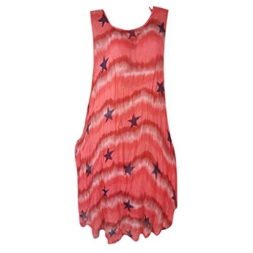 FeiBeauty Kleider Damen Sommer Casual Rundhals ärmelloses Minikleid Stern Drucken Strandkleid Blau, Pink, Weiß, Rot, Grau S-5XL
