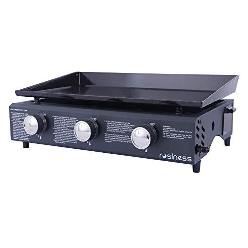 rosiness,OL6302-3S Portable Gas Grill Griddle with Propane and Removable Easy-to-Clean Barbecue Plate,3-Burners Large Cooking Area,Flat Top Grills Propane