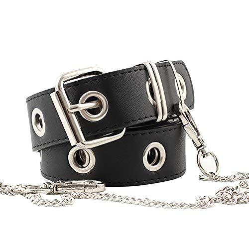 ZOYLINK Cinturón Elástico Cinturón Mujer Cuero Negro Cinturón Jeans Cinturón Moda Hollow Punk Cinturón Estilo Pantalones Cinturón con Cadena Mujer