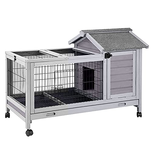 Aivituvin Wooden Rabbit Hutch with Removable Wire Floor Grid