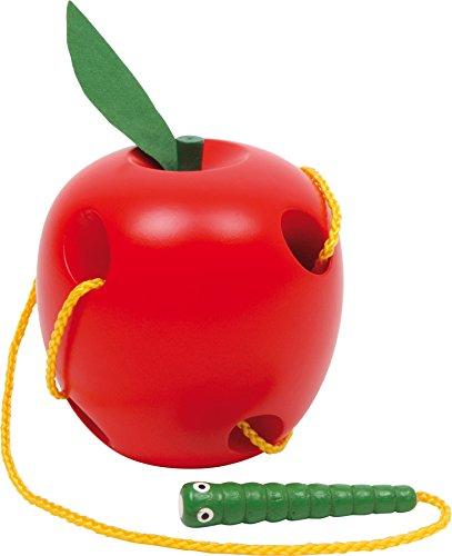 Small Foot 2646 Pomme á enfiler en bois, jeu d'enfilage pour promouvoir la motricité fine, à partir de 3 ans