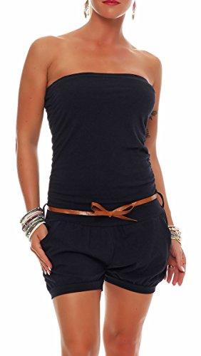 Malito Damen Einteiler kurz in Unifarben | Overall mit Gürtel | schicker Jumpsuit | Romper - Playsuit - Hosenanzug 8964 (dunkelblau)