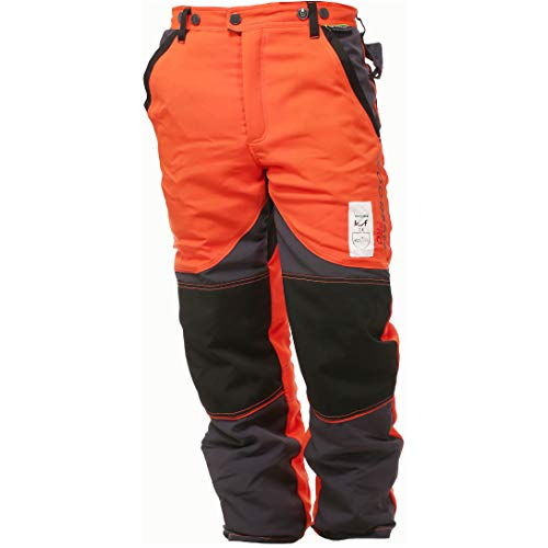 WOODSafe Schnittschutzhose Klasse 2, Forsthose, kwf-geprüft, Bundhose orange/grau, Herren - Waldarbeiterhose mit Schnittschutz Form A, leichtes Gewicht (60)