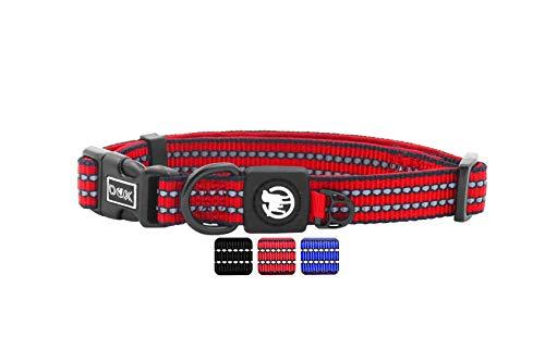 DDOXX Hundehalsband Nylon, reflektierend, verstellbar, gepolstert | viele Farben & Größen | für kleine & große Hunde | Halsband Hund Katze Welpe | Hunde-Halsbänder | Katzen-Halsband klein | Rot, S