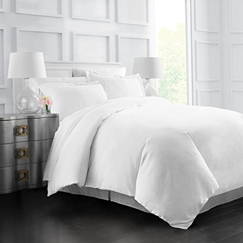 Italian Luxury Soft Brushed 1500 Series Microfiber Duvet Cover Set, Hotel Quality and Hypoallergenic with Zippered Closure and Matching Shams -Twin/TwinXL - White