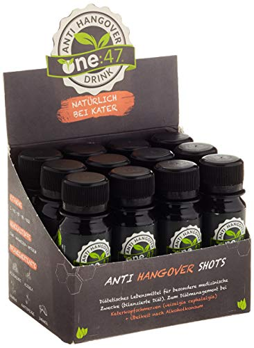 one:47 ® After Party Drink | 12 Shots | Feel good next day | Elektrolyte Recovery Drink mit Vitamin C, Vitamin B1 + B2 + B6 + B12, Magnesium und Zink | Mit Ingwer, Gingko, Acerola