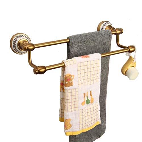 zyl Toallero de Estilo Europeo Antiguo Perchero de Cobre para Toallas Estante de Toalla de Doble Poste montado en la Pared Suministros de baño Impermeables y a Prueba de óxido