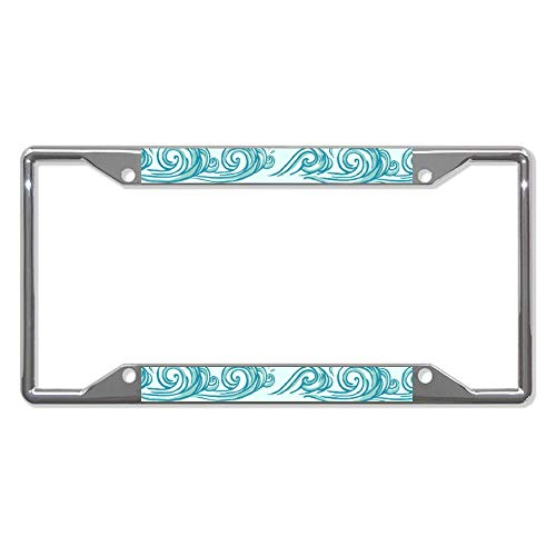 liuKen Abstract Wave License Plate Frame Chrome 4 Holes,License Plate Cover Auto Tag Holder Funny,for Women and Men