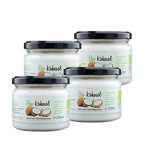 Michel´s Naturprodukte - Natives BIO Kokosöl Kaltgepresst, 1000ml (4x250ml), Veganes und Naturreines Kokosnussöl, Rohkostqualität, Kokosfett zum Kochen, Braten und Backen, Cocosöl für Haut und Haare