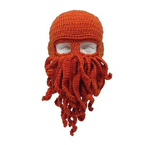 Hombres Mujeres KnitHats, a prueba de viento caliente de punto Beanie sombrero de pulpo Cap pasamontañas sombrero, fiesta de cumpleaños de carnaval, circunferencia de la cabeza 57 ~ 60 cm,Orange