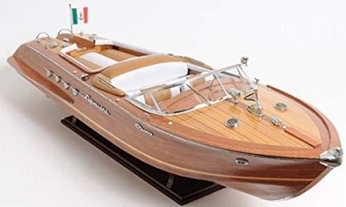 Casa Padrino Holz Speedboot Riva Aquarama Braun/Mehrfarbig 88,9 x 22,9 x H. 25,4 cm - Handgefertigtes Deko Modellboot Boot