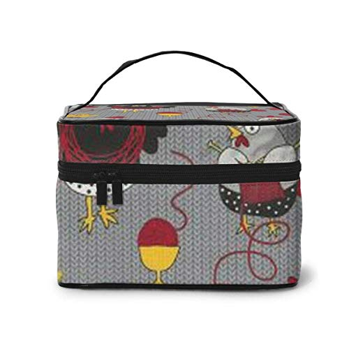 Chicken Knitted Sweater Travel cosmeticakoffer organizer met ingebouwde tas, multifunctionele koffer toilettas