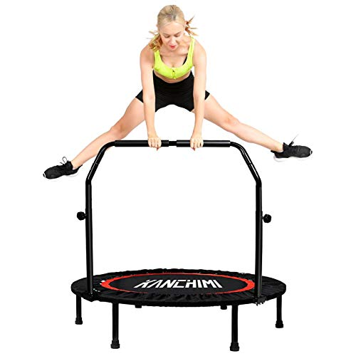 Kanchimi 40' Folding Mini Trampoline for Kids,Fitness Rebounder with Adjustable Foam Handle,Outdoor Indoor Trampoline for Kids and Adults Workout Max Load 330lbs