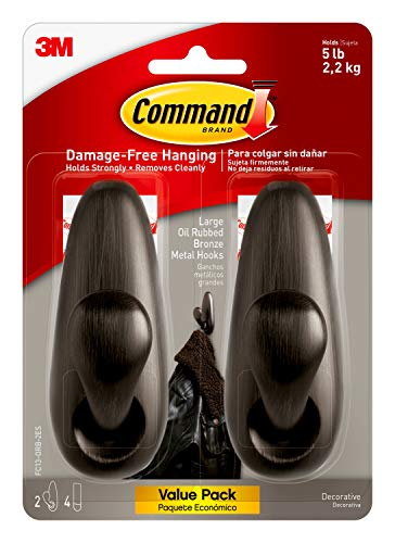 Command FC13-ORB-2ES Large Forever Classic, Oil Rubbed Bronze, 2 Hooks, 4 Strips/Pack, Count