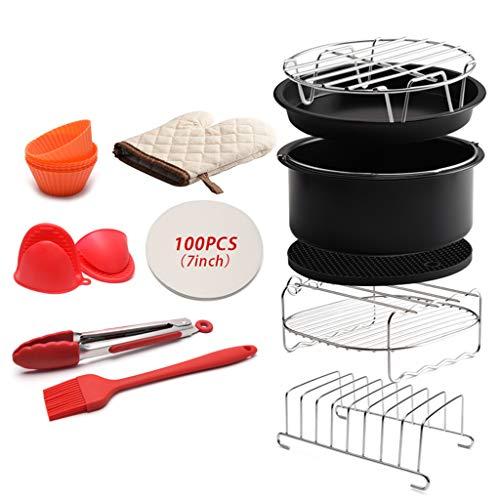 Boji Lot de 12 accessoires de cuisson pour friteuse Air Fyer de toutes les marques - Poêle à griller, plateau de cuisson à vapeur - Plaque de cuisson avec revêtement anti-adhésif