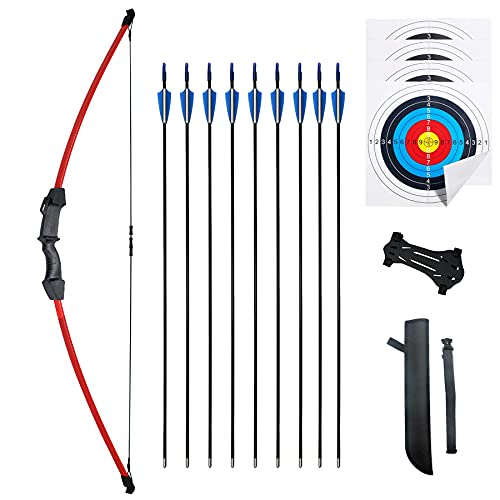 """iMay 45"""" Recurve Bow and Arrows Set Outdoor Archery Beginner Gift Longbow Kit with 9 Arrows 4 Target Face Paper 18 Lb for Teens (Red)"""