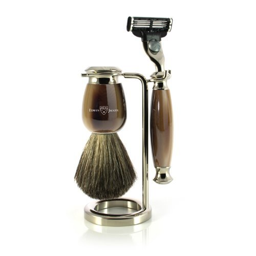 Edwin Jagger Simulated Horn and Nickel Shaving Set, Brown/Cream
