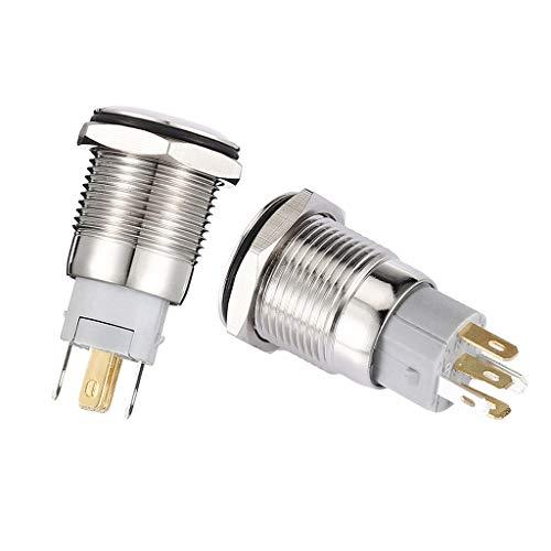 IPOTCH 2x Botón de Metal 16mm Interruptor Autoblocante Antioxidante Impermeable 2P 250V Encendido/Apagado