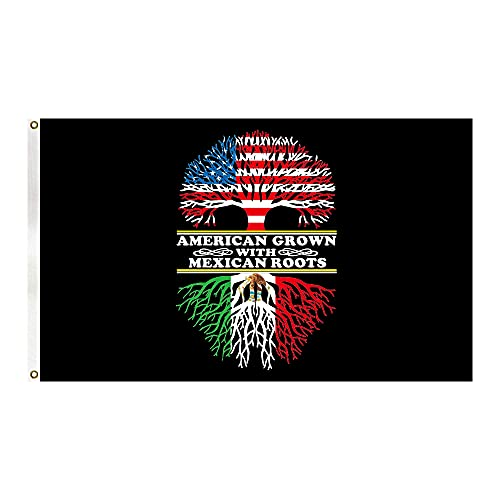 American Grown with Mexican Roots Flag Vivid Color and UV Fade Resistant with 2 Grommets 3X5 Ft