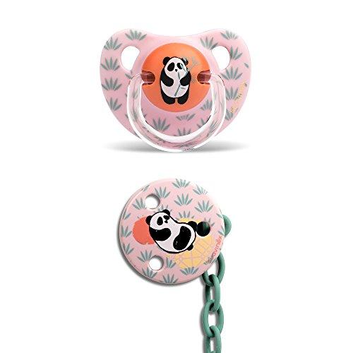 Suavinex - Pack Chupete Tetina Anatómica 6-18 Meses Látex + Broche Redondo. 0% BPA, Diseño Panda Color Rosa