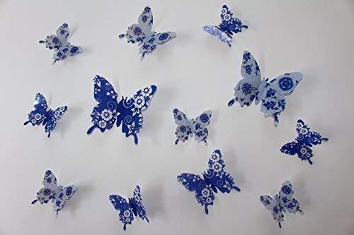 first-us 3D Schmetterlinge 12er Set Dekoration Wandtattoo Wandsticker Blau Blumenmuster G