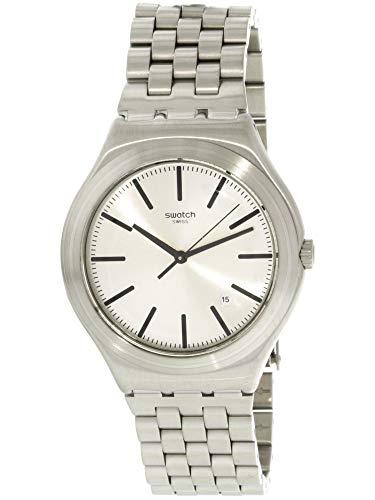 Swatch Mon Quotidien Damen-Armbanduhr, Edelstahl, Schweizer Quarz, silberfarben YWS429G
