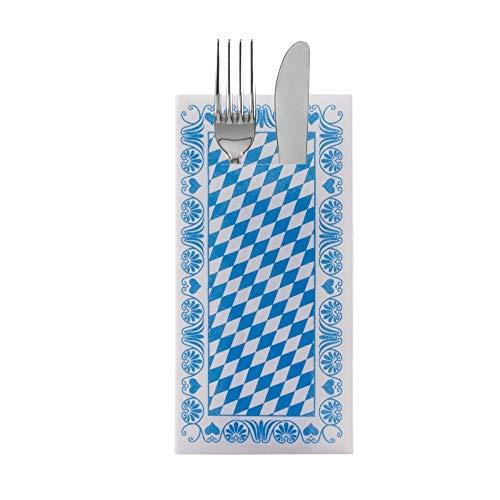 Sovie HORECA Oktoberfest-Deko Besteckserviette | Bavaria Raute | 40x40cm 100 STK Linclass® Airlaid | Wiesn Bayrisch Zelt (Blau)