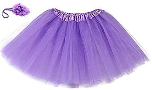 Falda de Tul recién Nacida - Banda para el Pelo - Flor - Traje - Foto - Talla única - púrpura Oscuro - Falda para niña