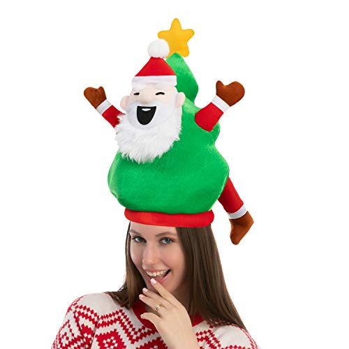 Plush Christmas Santa Tree Hat for Festive Party Dress Up Celebrations, Winter Party Favor, Christmas Decorations, Beanie Costume Accessories Green