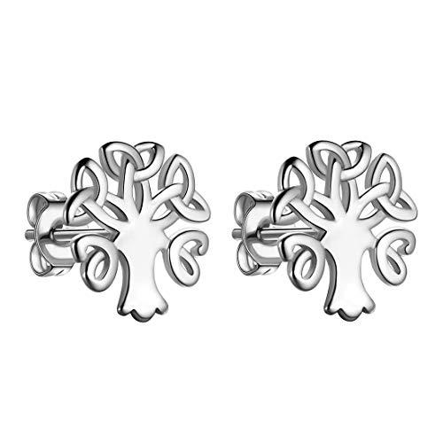 Beautlace Celtic Knot Stud Earrings Silver Plated Tiny Delicate Ear Studs Tree of Life Earring Irish Jewelry for Men and Women KE0005W